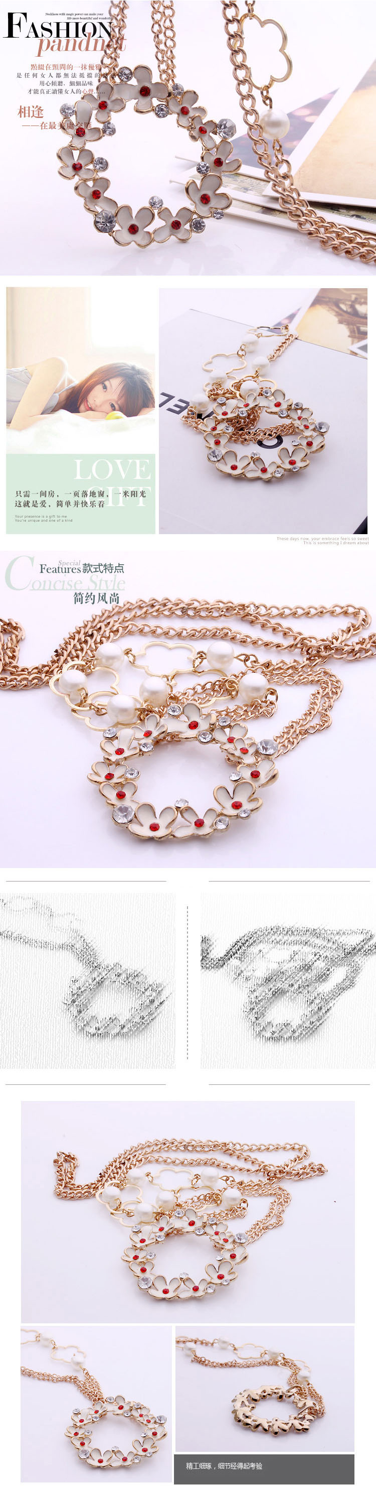 Detailed Pictures of Flower Costume Necklace Sweater Chain